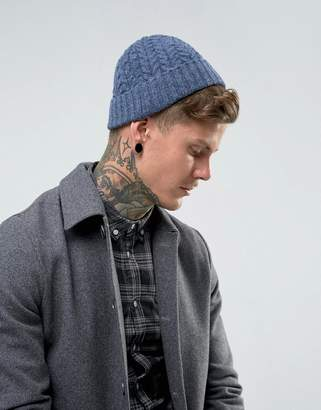Asos Lambswool Blend Cable Fisherman Beanie In Denim