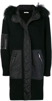 P.A.R.O.S.H. fur hood panelled coat