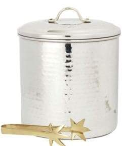 Old Dutch 3-Quart Hammered Stainless Steel Ice Bucket and Tongs