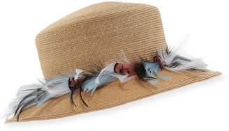 Neiman Marcus Gigi Burris Braided Straw Feather Plume Hat