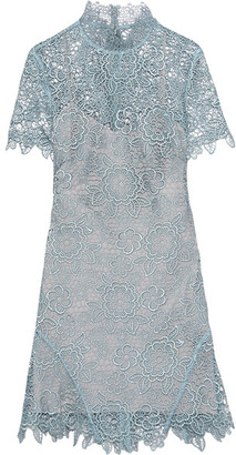Self-Portrait - Open-back Guipure Lace Mini Dress - Sky blue $410 thestylecure.com