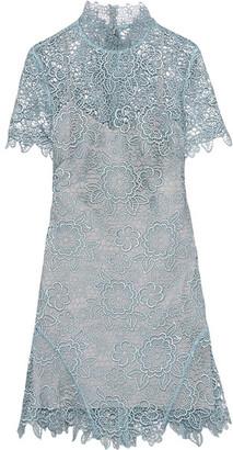 Self-Portrait - Open-back Guipure Lace Mini Dress - Sky blue $410 thestylecure.com