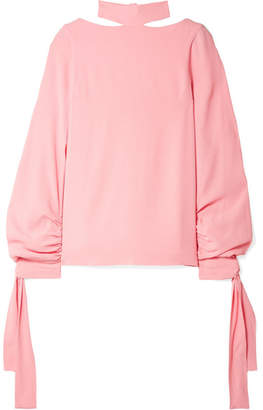 Rosetta Getty Tie-detailed Crepe Blouse - Baby pink