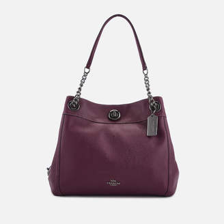 Showing 2798 Purple Handbags At Mybag Coach Women S Polished Pebble Leather Turnlock E Shoulder Bag Dark Berry