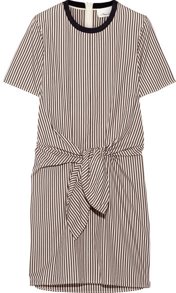 3.1 Phillip Lim 3.1 Phillip Lim - Tie-front Cutout Striped Cotton And Silk-blend Oxford Mini Dress - Dark brown