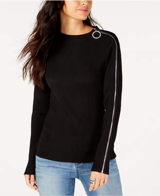INC International Concepts I.n.c. O-Ring Zip-Shoulder Sweater