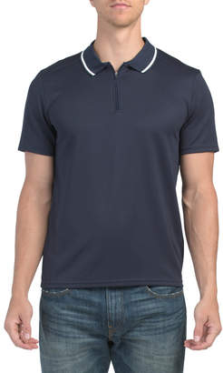 Vince Camuto Contrast Collar Zip Polo