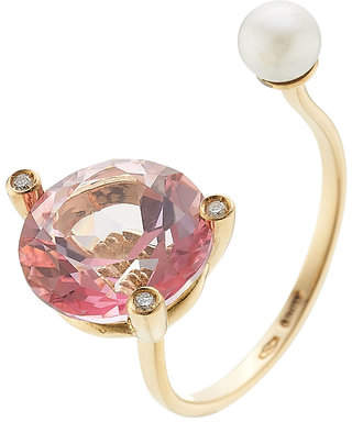 Delfina Delettrez 18kt Gold Ring with Pink Topaz, White Diamonds and Pearl