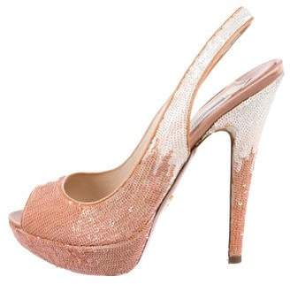 Prada Sequin Peep-Toe Slingback Pumps
