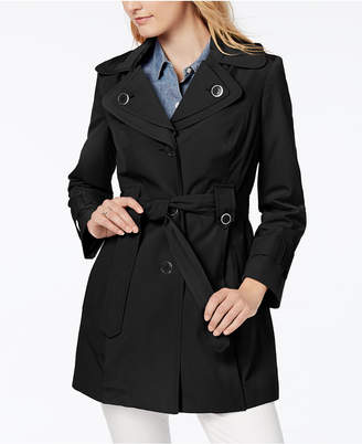 London Fog Petite Water-Resistant Hooded Double-Collar Trench Coat