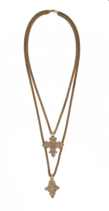 Carol Marie Double Ethiopian Cross Necklace in 2 Colors