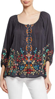 Johnny Was Sarah Scoop-Neck 3/4-Sleeve Embroidered Georgette Top