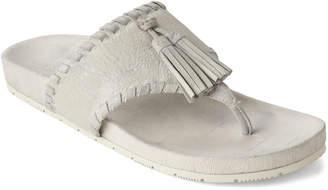 J/Slides Silver Nigel Tassel Leather Flip Flops
