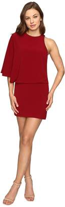 Halston Asymmetrical Boat Neck Mini Dress w/ Back Drape Women's Dress