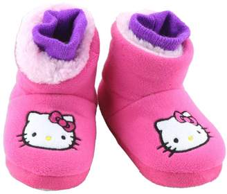 Hello Kitty Girls Plush Slipper Booties with Embroidery - 5/6