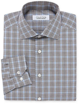 COLLECTION Collection by Michael Strahan Wrinkle Free Cotton Stretch Big And Tall Long Sleeve Woven Plaid Dress Shirt