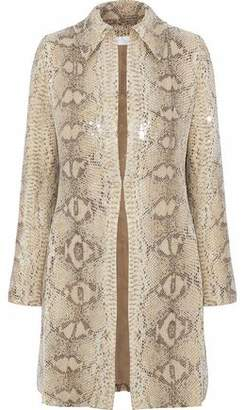 Mikael Aghal Sequined Snake-Print Gauze Jacket