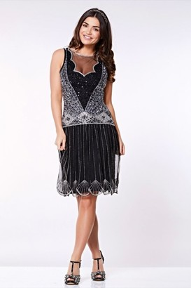 Gatsbylady London Elaina Drop Waist Flapper Dress in Black