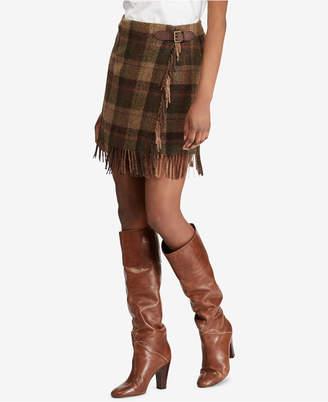 Polo Ralph Lauren (ポロ ラルフ ローレン) - Polo Ralph Lauren Fringe-Trim Plaid Skirt