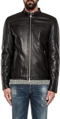 Dondup Black Biker Leather Jacket