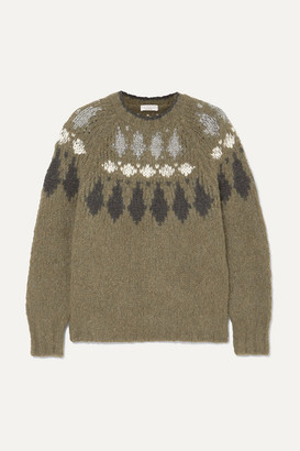 Brunello Cucinelli Bead-embellished Intarsia Alpaca-blend Sweater - Green