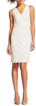 Adrianna Papell Adrianna Papell Metallic Halter V-Neck Lace Dress