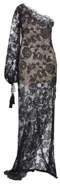 Oscar de la Renta One-Shoulder Lace Slit Column Gown