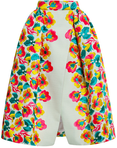 DELPOZO Floral Embroidered Wrap Skirt