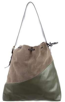 Marni Suede & Leather Diagonal Drawstring Bag