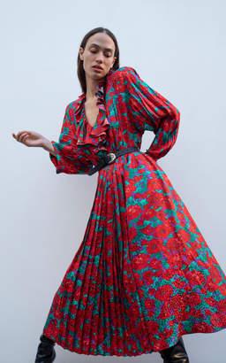 Magda Butrym Ancona Ruffled Floral-Print Silk Midi Dress