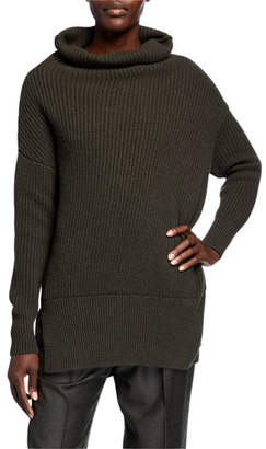 Agnona Cashmere Ribbed Cowl-Neck Sweater