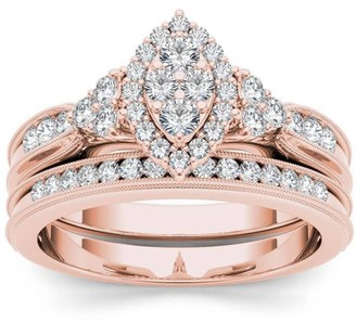 Imperial Diamond Imperial 1/2 Carat T.W. Diamond Marquise Framed Cluster 10kt Rose Gold Engagement Ring Set