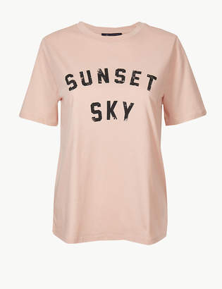 Marks and Spencer Pure Cotton Printed Short Sleeve T-Shirt