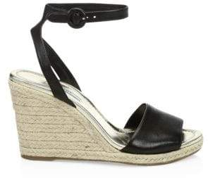 Prada Leather Wedge Espadrille Sandals