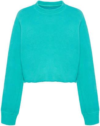 The Elder Statesman Cotton Fleece Raw Cropped Sweatshirt