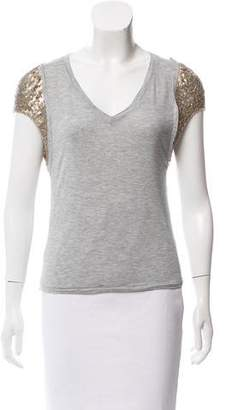 Elizabeth and James V-Neck Sequin T-Shirt