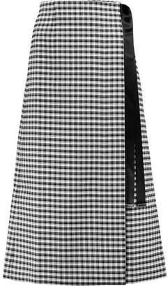 Mother of Pearl Ophra Satin-Trimmed Checked Twill Wrap Midi Skirt