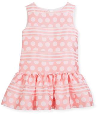 Charabia Polka-Dot & Stripe Drop-Waist Sleeveless Dress, Size 10-12