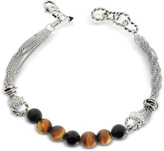 Giacomo Burroni Multi Chains Silver Bracelet w/Beads