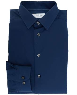 Eton Sateen Poplin Small Collared Shirt