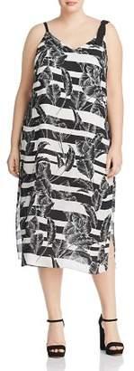 Vince Camuto Plus Tropical Shadows Printed Midi Dress