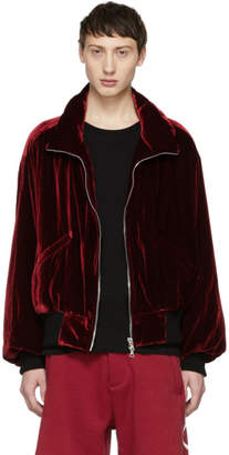 Amiri Red Velvet Puff Jacket