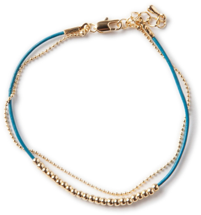 Lori's Shoes Delicate Cord and Chain Bracelet with Gold Beads