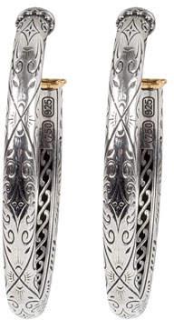 Konstantino Delos Two-Tone Medium Thick Hoop Earrings