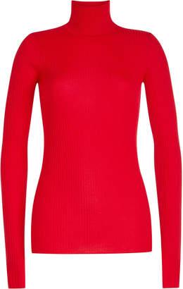 Jil Sander Navy Ribbed Wool Turtleneck Pullover