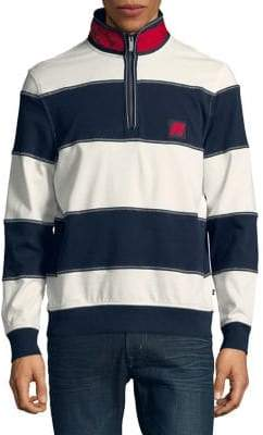 Nautica Wide-Stripe Quarter-Zip Pullover