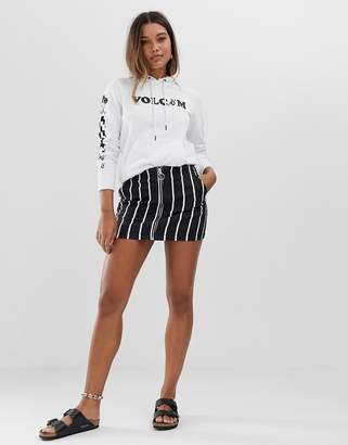 Volcom Fochickie stripe skirt in black
