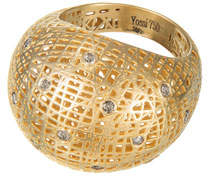 Yossi Harari Lace 18k Domed Ring w/ Diamonds, Size 6