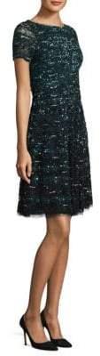 Aidan Mattox Forest Short-Sleeve Dress