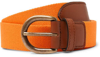 Anderson & Sheppard - 3cm Orange Webbing and Leather Belt